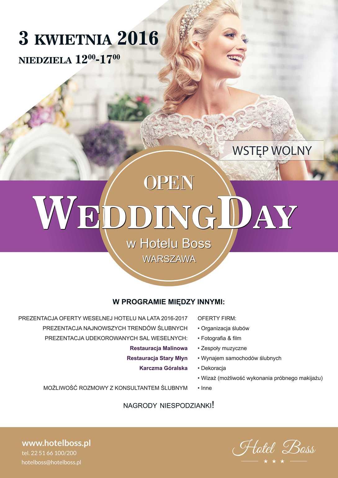 Open Wedding Day w Hotelu Boss 3 kwietnia 2016 r. Targi Ślubne